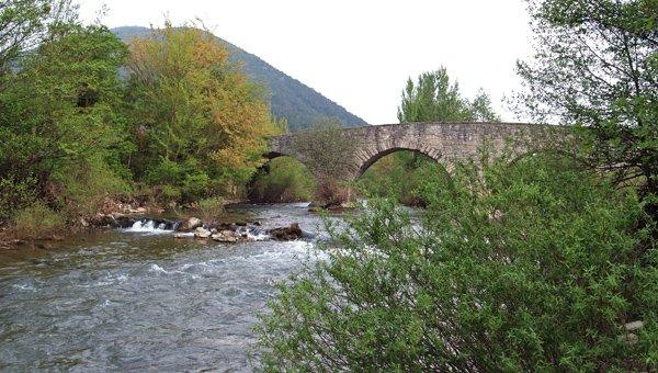 Detalle de puente románico en Sorauren