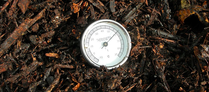 Medidor de temperatura en un compostador doméstico
